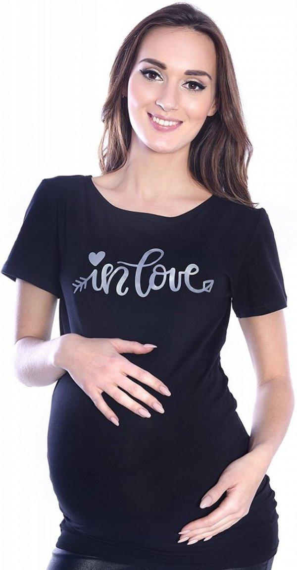 """Komfortowy  T-shirt """"In Love"""" dla kobiet w ciąży 9080  czarny"""