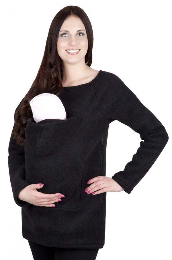 bluza polarowa do noszenia dziecka + komin 1107 czarny 2