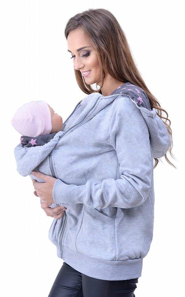 3 w1 bluza 3D ciążowa i do noszenia dziecka 4046/M50 melanż 4