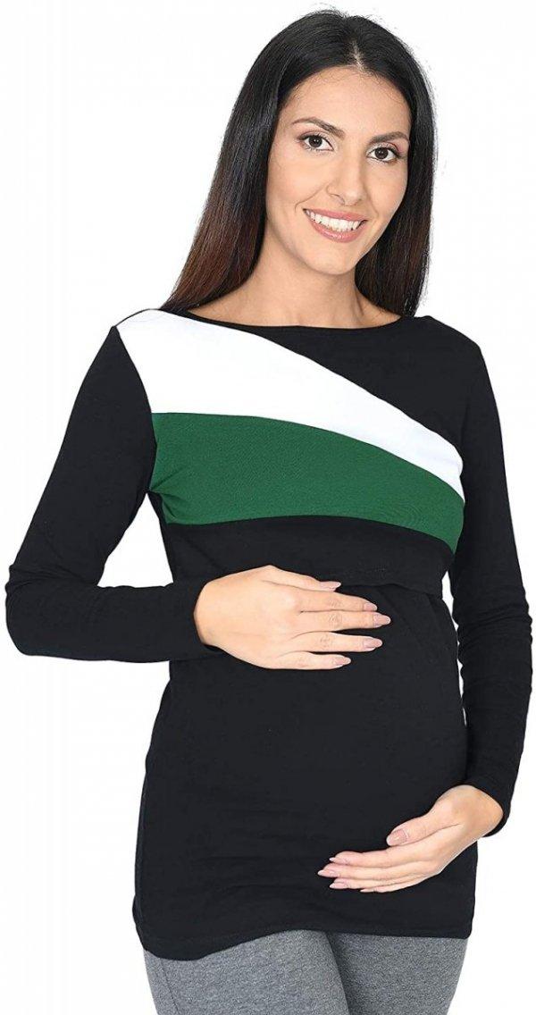 Praktyczna bluza ciążowa i do karmienia Paski 9088 czarna/biały/zielony1