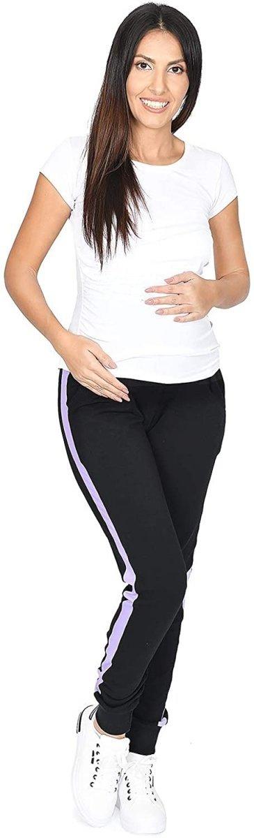 MijaCulture Wygodne spodnie dresowe ciążowe Coco M003 czarny/fiolet4