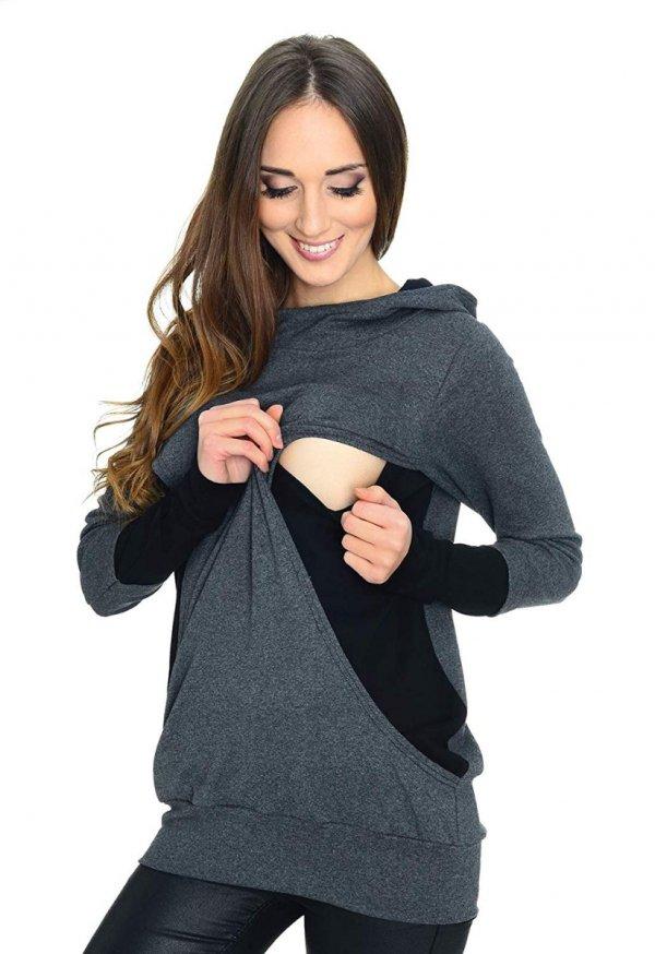 3w1 bluza ciążowa i do karmienia 3078/M06 grafit/czarny 2