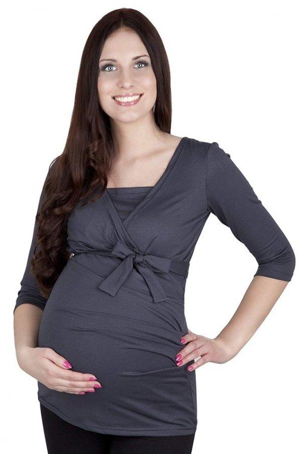 bluzka z paskiem 2 w 1 ciążowa i do karmienia 4004/M23 grafit 2