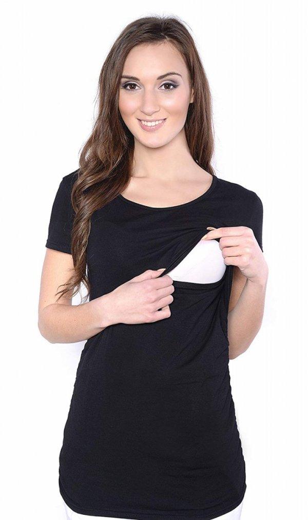 MijaCulture - bluzka 2 w1 ciążowa i do karmienia krótki rękaw 1102 czarny 1