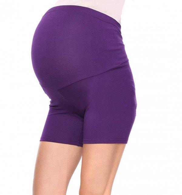 Wygodne krótkie legginsy ciążowe Mama Mia fioletowy 3
