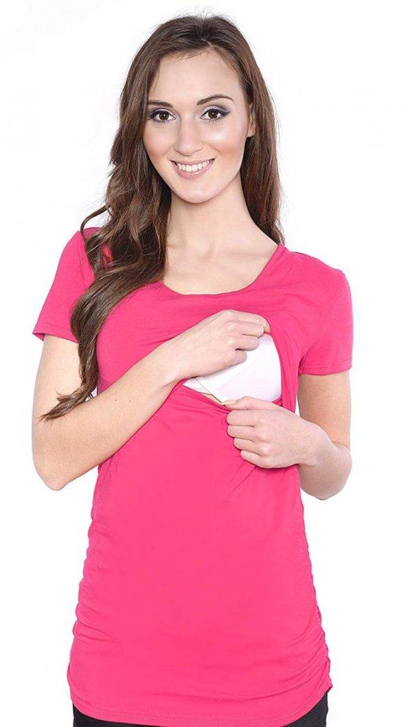 MijaCulture - bluzka 2 w1 ciążowa i do karmienia krótki rękaw 1102 amarant 1