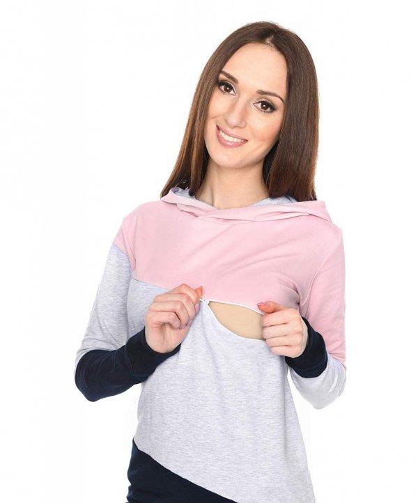 Wygodna bluza ciążowa i do karmienia 9094 róż/melnż 2
