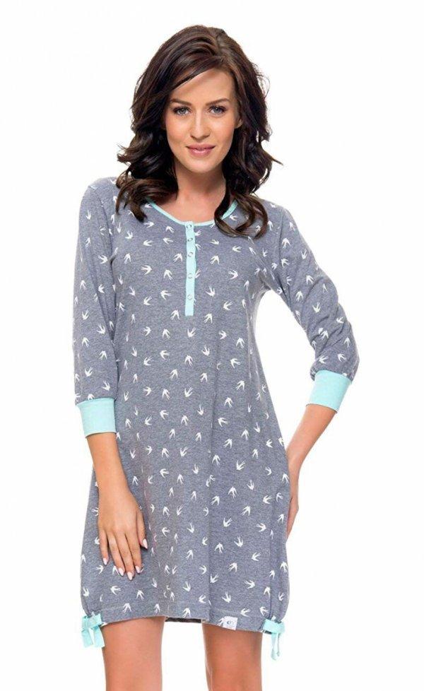 Wygodna koszula 2 w 1 ciążowa i do karmienia długi rękaw 5070/9104,1055 szary/niebieski