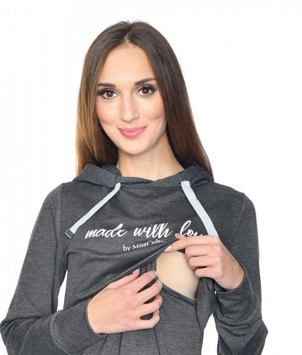 MijaCulture - 3 w 1 bluza ciążowa i do karmienia M68 4110 grafit Made with love 4