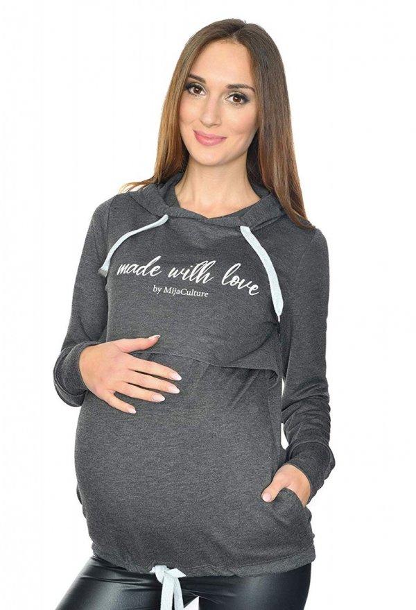 MijaCulture - 3 w 1 bluza ciążowa i do karmienia M68 4110 grafit Made with love 1