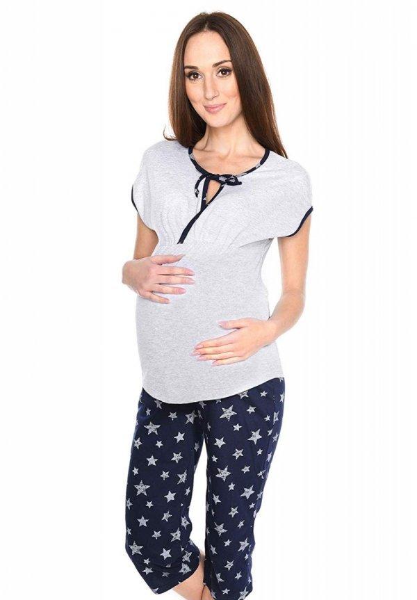 MijaCulture - piżama 3 w 1 ciążowa i do karmienia 4117/M77 melanż/granat 1