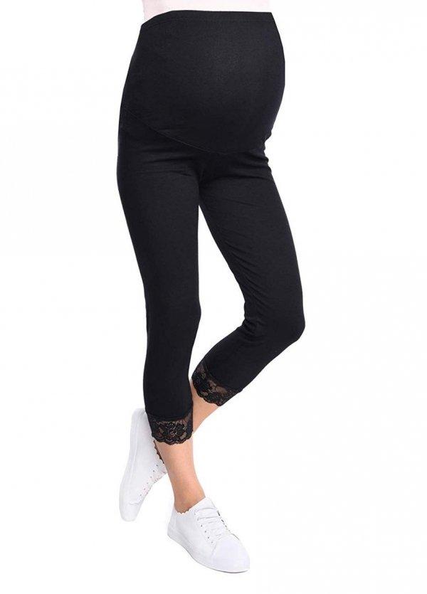 Komfortowe legginsy ciążowe 3/4 z koronką czarne 1