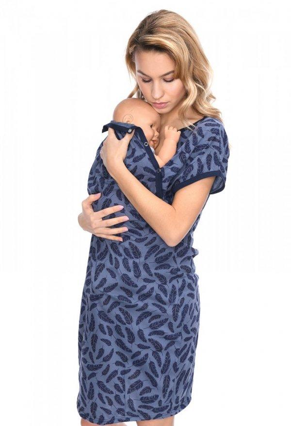 MijaCulture - koszula do porodu 4123 granat/piórka1