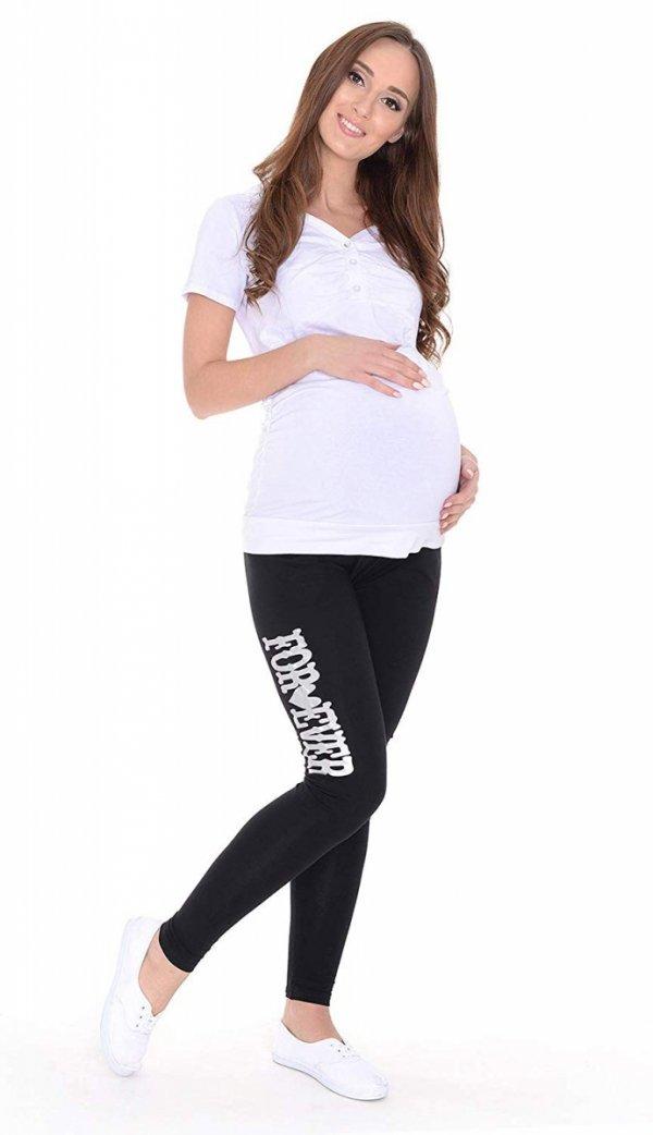 """Wygodne legginsy ciążowe z nadrukiem """"For Ever"""" 9085 czarny 2"""