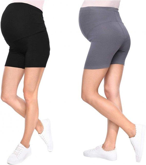 Wygodne krótkie legginsy ciążowe Mama Mia 1053/2 komplet szary/czarny1