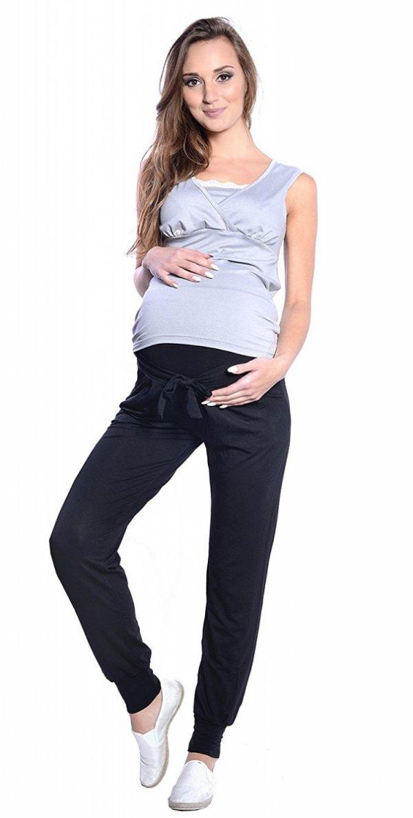 MijaCulture - spodnie alladynki z panelem 4012/ M 33 czarny 2