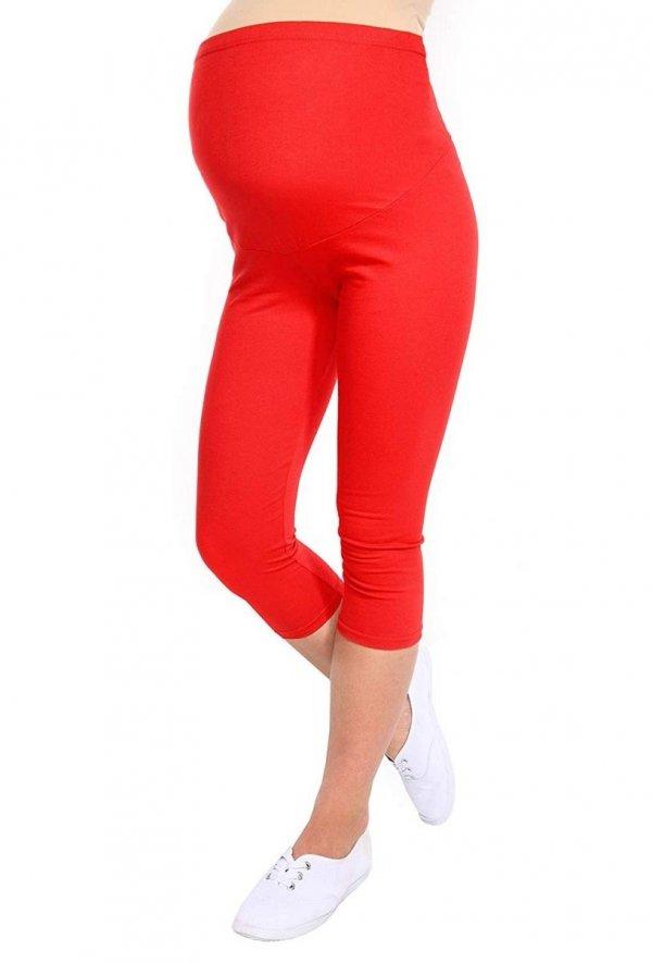 Komfortowe legginsy ciążowe 3/4 czerwony