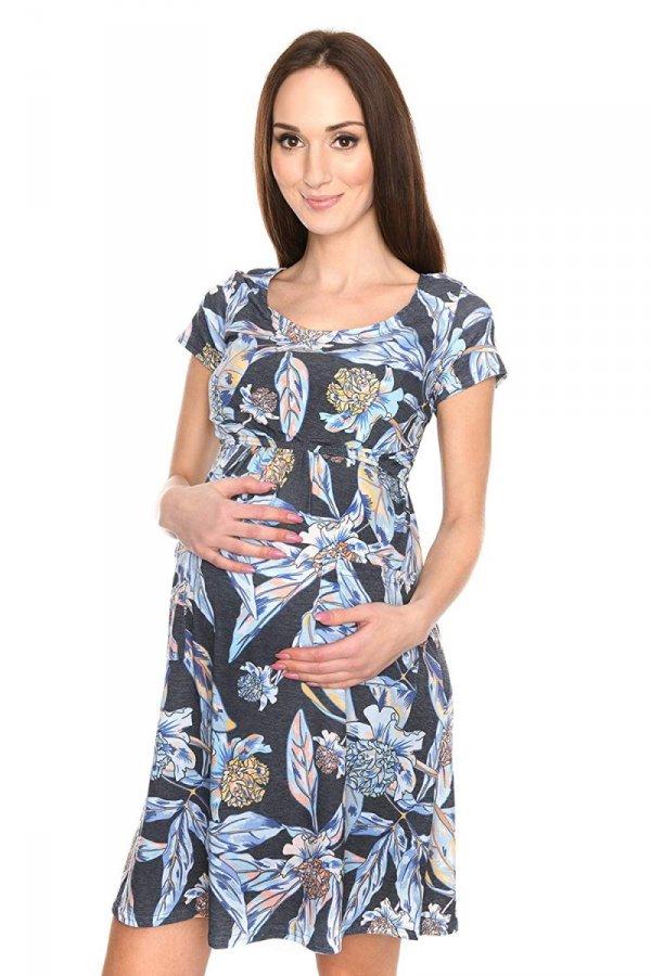 """MijaCulture - zjawiskowa sukienka 2 w 1 ciążowa i do karmienia """"Lulu"""" czarna/kwiaty 2"""