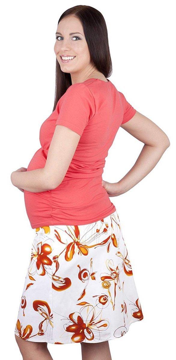 MijaCulture - spódnica ciążowa w kwiaty 1044/M64 pomarańczowy 3