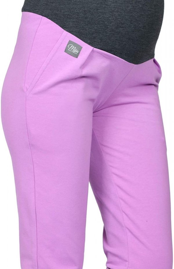 MijaCulture Wygodne spodnie dresowe ciążowe Coco M003 róż5