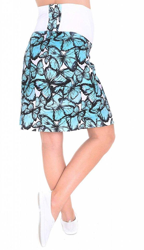 MijaCulture - spódnica ciążowa w kwiaty 1044/M64 turkus 3