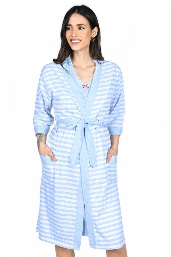 MijaCulture - 2 w 1 komplet koszula nocna i do karmienia + szlafrok 2076 niebieski
