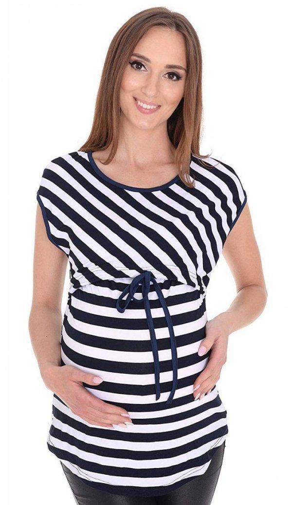 MijaCulture - 2 w1 bluzka ciążowa i do karmienia w paski 4093/M65 biały/granat 1