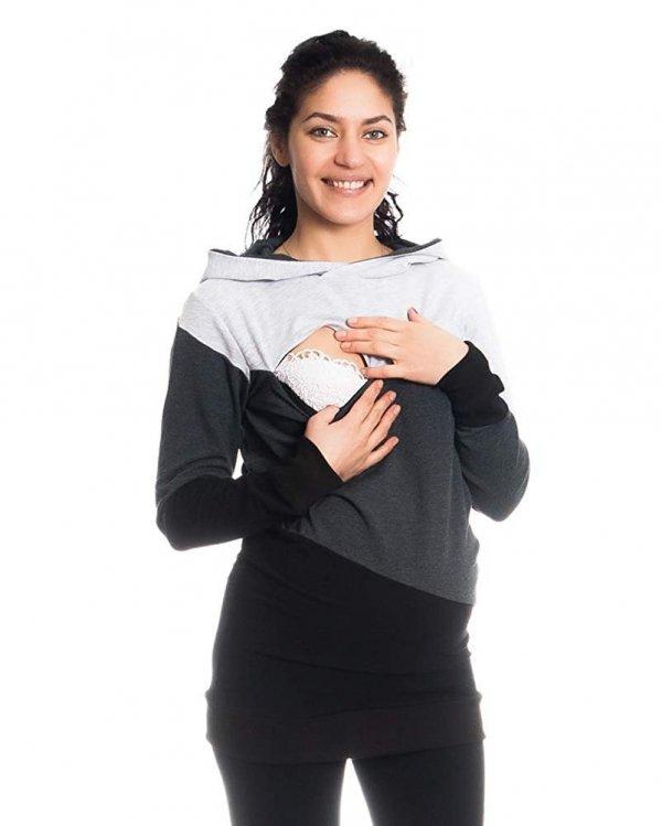 Wygodna bluza ciążowa i do karmienia 9094 czarny/melnż 4