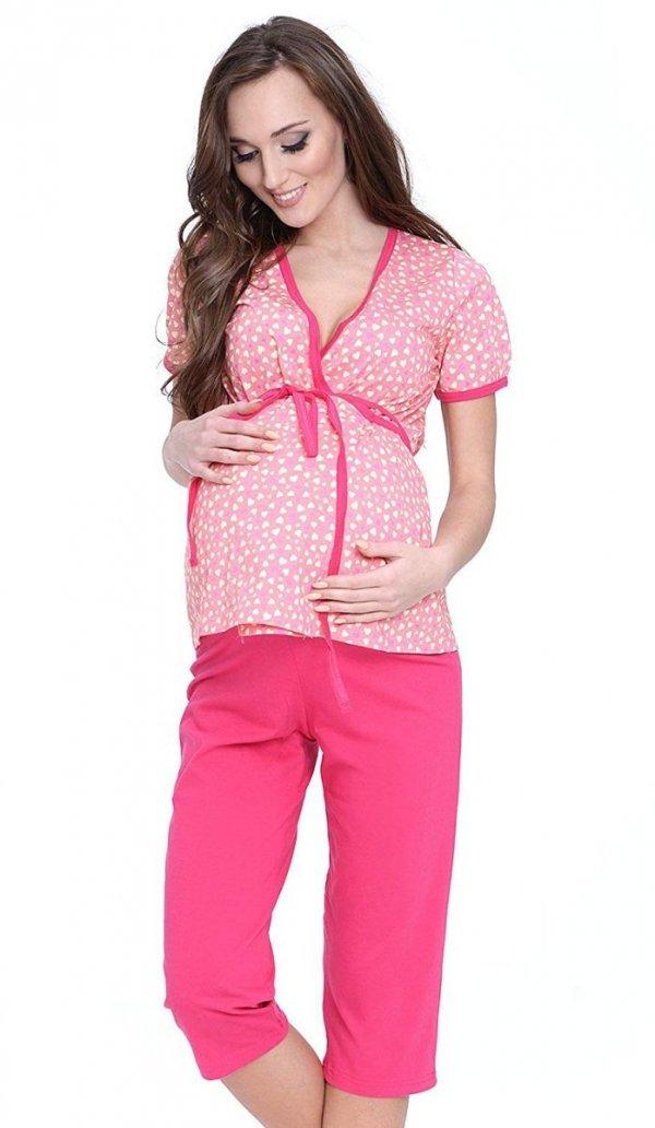 Urocza piżama 2 w 1 ciążowa i do karmienia 5001/645 brzoskwiniowy/czerwony 2