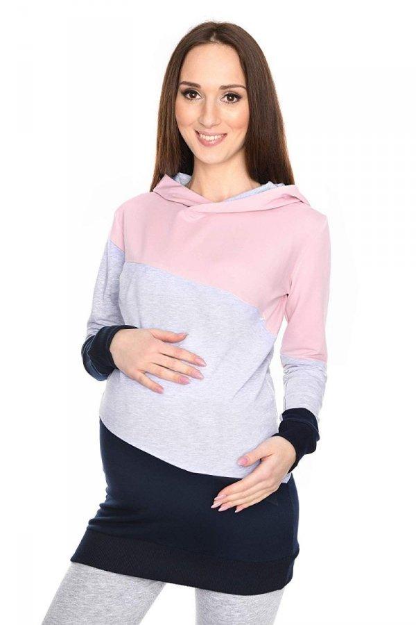 Wygodna bluza ciążowa i do karmienia 9094 róż/melnż 1