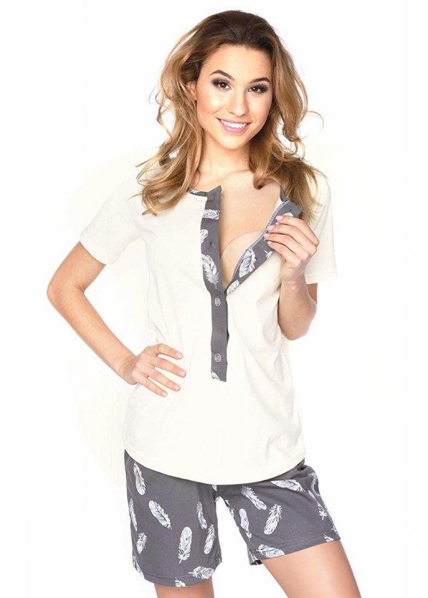 MijaCulture - 3 w 1 piżama ciążowa i do karmienia 4030/M47 kremowy 1