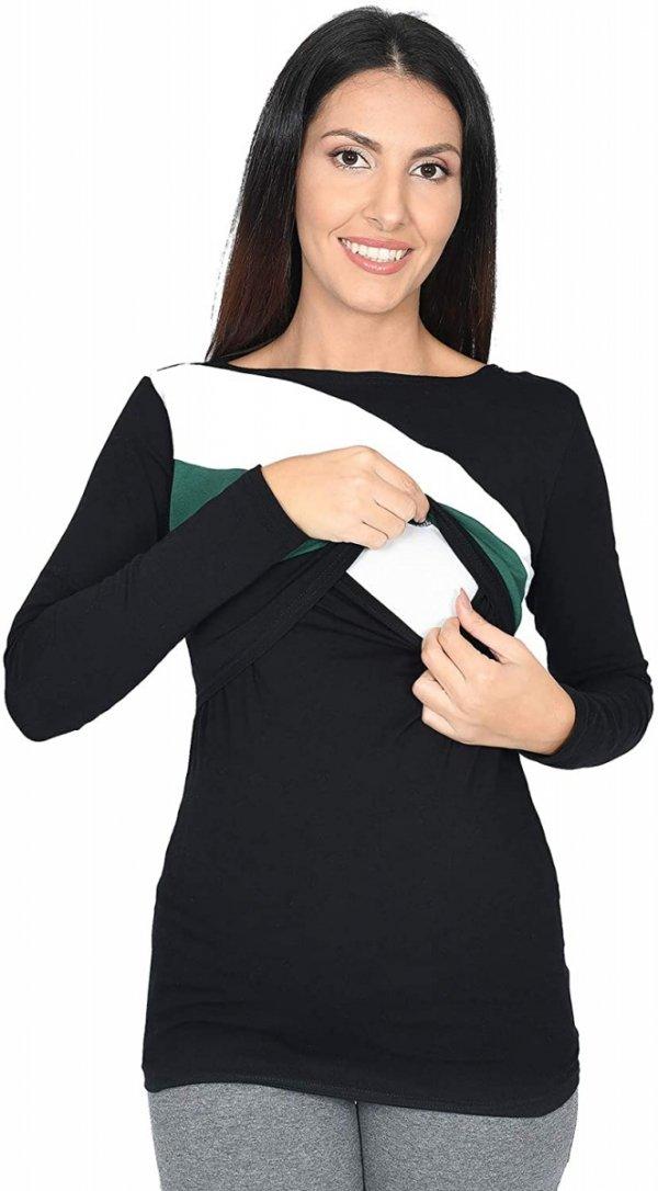 Praktyczna bluza ciążowa i do karmienia Paski 9088 czarna/biały/zielony2