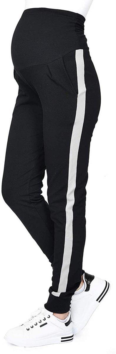 MijaCulture Wygodne spodnie dresowe ciążowe Coco M003 czarny/melanz1