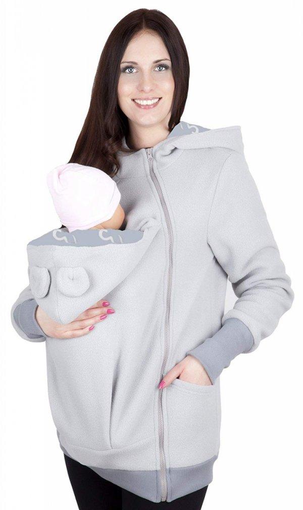 bluza polarowa do noszenia dziecka 4019A/M21 jasny szary/szary 2