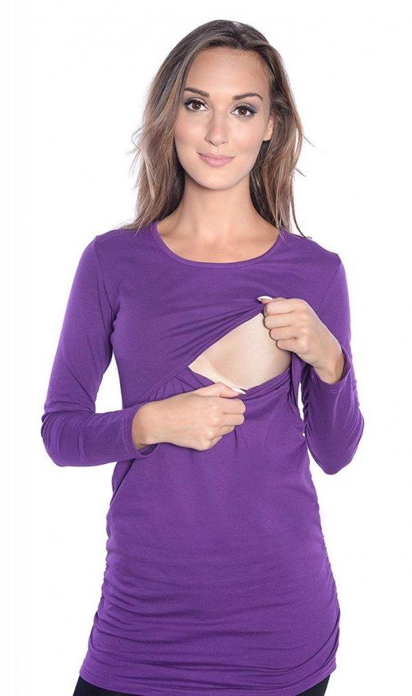 MijaCulture - bluzka 2 w 1 ciążowa i do karmienia długi rękaw M04/3075 fiolet 2