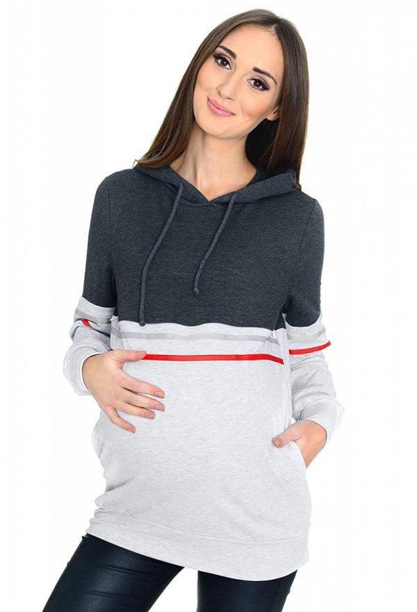 MijaCulture - 3 w 1 bluza ciążowa i do karmienia M72 4111 grafit/melanż 2