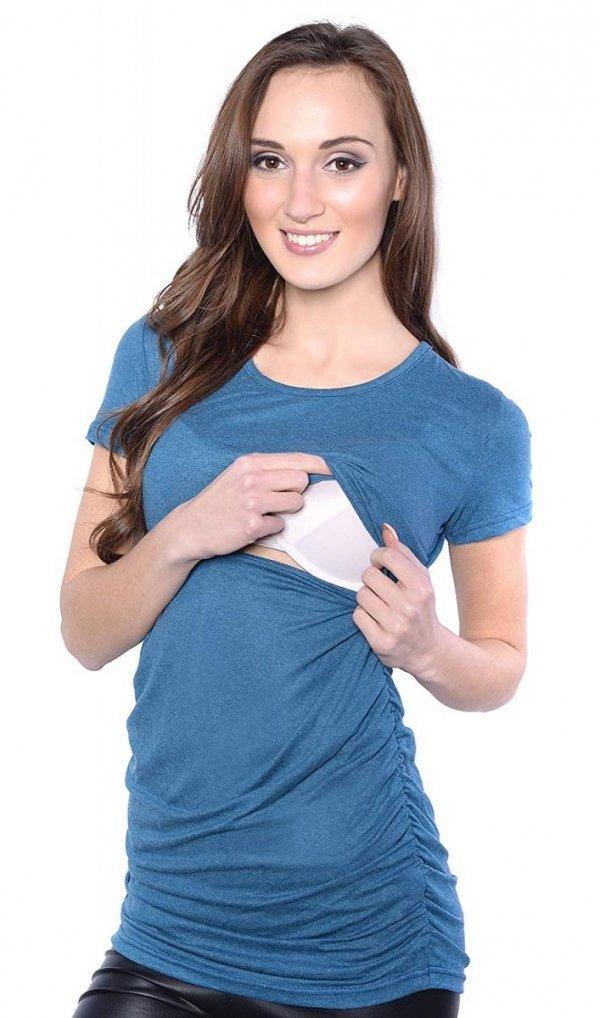 MijaCulture - bluzka 2 w 1 ciążowa i do karmienia 4033/M43 niebieski 2