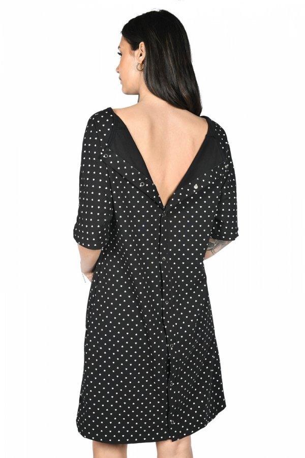 MijaCulture - koszula do porodu 4128 M96 czarny/serca