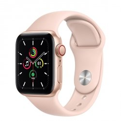 Apple Watch SE 40mm GPS + LTE (cellular) Aluminium w kolorze złotym z paskiem sportowym w kolorze piaskowego różu - nowy model