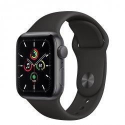 Apple Watch SE 40mm GPS Aluminium w kolorze gwiezdnej szarości z paskiem sportowym w kolorze czarnym - nowy model - outlet