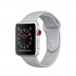 Apple Watch Series 3 / GPS + LTE / Koperta 42mm z aluminium w kolorze srebrnym / Pasek sportowy w kolorze szarym mglistym