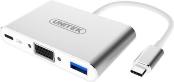 Unitek Adapter USB TYP-C  USBB3.0 USB2.0 VGA Aluminium