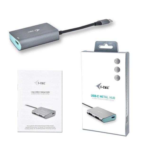 i-tec USB-C Metal HUB 3-portowy, 1x port USB 3.0/2x port USB 2.0 do USB-C, kompatybilny z Thunderbolt 3