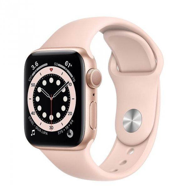 Apple Watch Series 6 40mm GPS Aluminium w kolorze złotym z paskiem sportowym w kolorze piaskowego różu