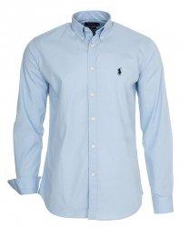 Ralph Lauren koszula męska gładka slim fit błękitna