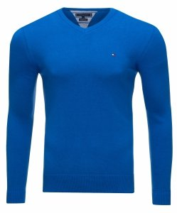 Tommy Hilfiger sweter męski V-neck  niebieski
