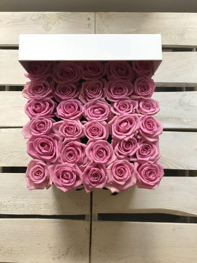 Różowe żywe róże w kwadratowym białym boxie