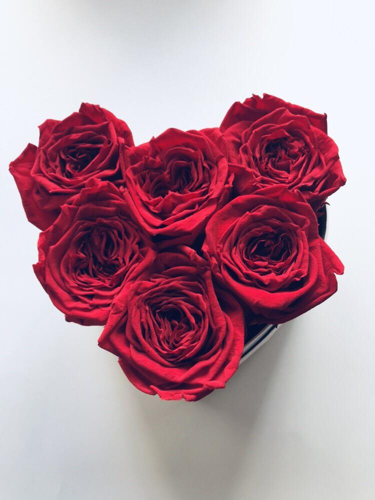 Czerwone wieczne róze w mini boxe heart