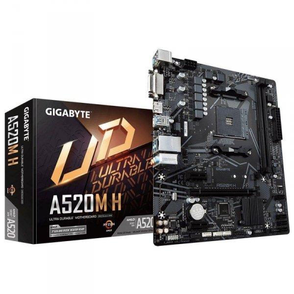 Płyta Gigabyte A520M H (rev. 1.0) /AMD A520M/DDR4/SATA3/M.2/USB3.0/PCIe3.0/AM4/mATX