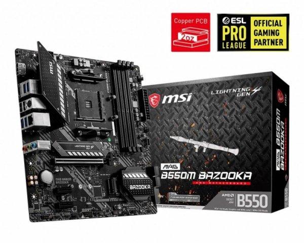 Płyta MSI MAG B550M BAZOOKA /AMD B550/DDR4/SATA3/M.2/USB3.1/PCIe4.0/AM4/mATX